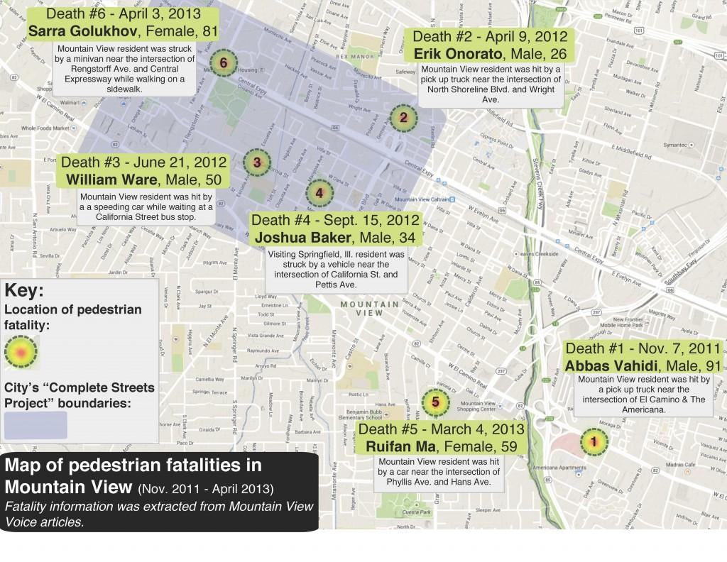 (CLICK MAP TO EXPAND) Map produced by Carolina Wilson/Peninsula Press. Map data sources via Mountain View Voice: Death #1, Nov. 7, 2011, Abbas Vahidi / Death #2, April 9, 2012, Erick Onorato / Death #3, June 21, 2012, William Ware / Death #4, Sept. 15, 2012, Joshua Baker / Death #5, March 4, 2013, Ruifan Ma / Death #6, April 3, 2013, Sarra Golukhov.
